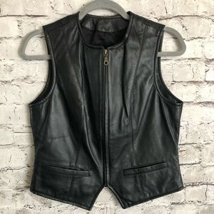 Wilson's Black Zipper Front Leather Top Vest